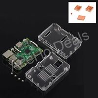 Transparent ABS Case Enclosure Box + Heat Sink Kit for Raspberry Pi 3 Model B