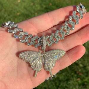 """14k White Gold Over Cuban Link Chain Butterfly Necklace VVS1 Diamonds 18"""" Womens"""