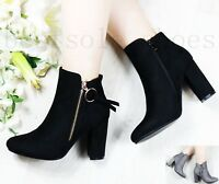 Womens Ladies Black High Block Heel Ankle Boots Smart Sexy Zip Up Shoes UK Size