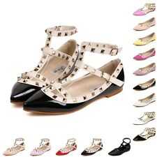 New Womens T-strap Studded Rivet Metal Flats Pointed Toe Shoes Single Sandals AU