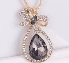WF New Gorgeous Crystal Vanilla Drop Bow Necklaces Pendants Golden Chain