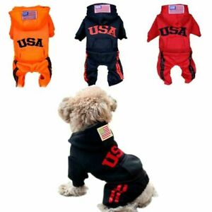 Pet Hoodie Puppy Embroid Letter USA Winter Outfit Warm Jacket Dog Jumpsuit Coat
