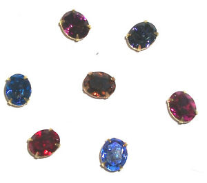 25 Swarovski 10x8mm Oval Preset Craft Repair Rhinestones Brass VTG