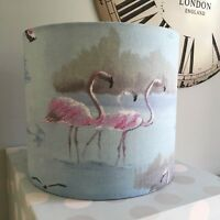 Handmade Lampshade Pink Small Flamingo Aqua Blue Fabric, Tropical, Exotic Birds