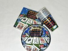 POKER  TEXAS HOLD'EM~  PAPER  SET x 8 GUEST, BIRTHDAY-ADULT   PARTY SUPPLIES