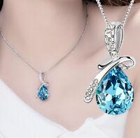 Wedding WOMEN Jewelry Rhinestone Crystal Waterdrop chain Necklace Pendant blue h