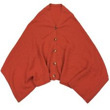 Orvis Women's Cable Knit Cashmere Wool Button Shawl Poncho Cape Orange • OS
