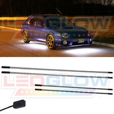 LEDGlow 4pc WHITE COLOR LED SLIMLINE UNDERBODY UNDER GLOW CAR LIGHT LIGHTING KIT