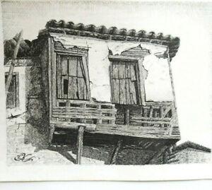 VIEILLE MAISON EN RUINE DESSIN ENCRE circa 1950 Signé EK