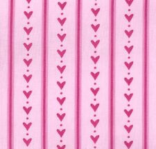 Hearts and Stripes on Pink Cotton Fabric by Ella Blue - FQ