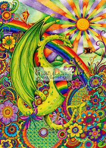 Rainbow Dragon Greetings birthday card drawn in the UK flowers Pagan Hippy Wicca