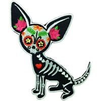 Chihuahua Muerta Sugar Skull Dog Evilkid Iron On Embroidered Patch New Day Dead