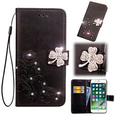 SD FourLeaf Bling-B Strap Leather Wallet Card Case Cover For Samsung J7 A8 C7 S9