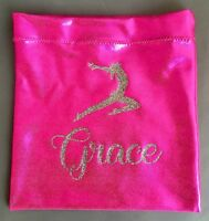 *PERSONALISED PINK LYCRA CHALK/GRIP BAG*  Gymnastics Hand Guard Dance