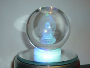 cristalloterapia SFERA CRISTALLO BUDDHA BASE LED COLORE statua scultura oriente