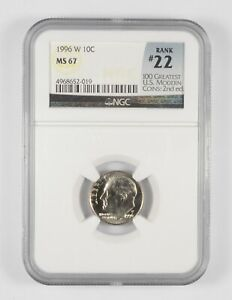 MS67 1996-W Roosevelt Dime - Rank #22 - Graded NGC *427