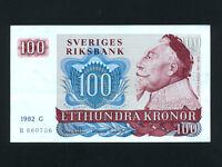 Sweden:P-54c,100 Kroner,1982 * King Gustav II Adolf * EF-AU *