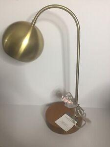 THRESHOLD Task Lamp Brass Finish with Genuine Wood Base *NEW*