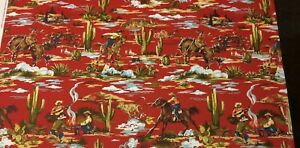"""COVINGTON GIDDY UP NAVAJO RED COWBOY HORSE TOILE MULTIUSE FABRIC BY YARD 44""""W"""