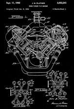 1962 - Chrysler 426 Hemi V8 High Torque Engine - J. Platner - Patent Art Poster