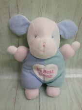 Carters My Best Friend Puppy Dog Waffle Pastel Plush Rattle Lovey Prestige VTG