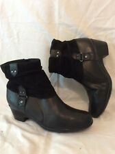 Clarks Black Ankle Leather Boots Size 7D