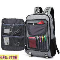 New Fashion Mens School Backpack USB Charger Laptop Casual Travel Bag