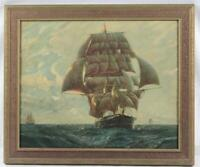 Vintage Great Tea Race of 1866 Litho Print Clipper Ships Ariel Taeping & Serica