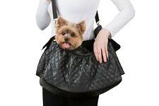 Petote Gigi Sling Pet Dog Bag Tote Purse Handbag Travel Carrier Black Quilted