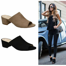 "Ladies Nude Black 2.5"" Medium Block Heel Mule Slip On Sandals"