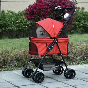 PawHut Dog Stroller Pet Pushchair One-Click Fold Trolley Adjustable Canopy Red