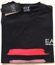 Da Uomo Emporio Armani EA7 Girocollo Manica Corta Nero T Shirt Taglia-Medium Rrp £ 75