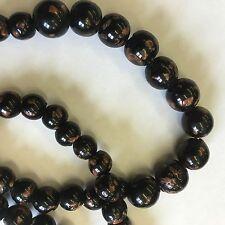 Vintage Art Deco Style Black & Copper Pattern Glass Bead Necklace 50cm