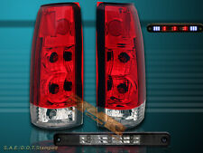 88-98 CHEVY GMC C/K 1500 2500 3500 SIERRA RED TAIL LIGHTS & LED 3RD BRAKE LIGHT