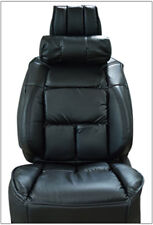 UNIVERSAL LIMOUSINE BLACK S.LEATHER FRONT ONE SEAT COVER WITH NECK CUSHION
