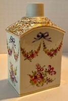 German Dresden Floral Bow Swag Tea Caddy Provenance c.1880