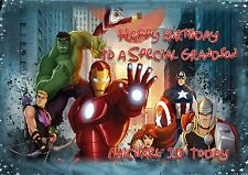 Personalised birthday card Marvels avengers large A5 size son grandson f