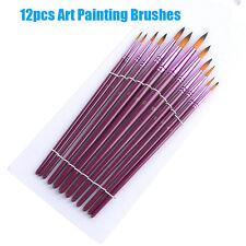 12 Pcs Face Painting Brushes - Round And Flat Tip Art Paint Brush Glitter Set