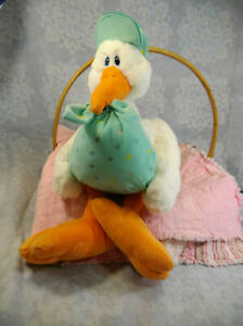 "First & Main 2836 Bundle Ojoy Stork Delivery Plush Green White 18"" New Baby"
