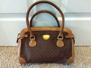 Vintage Gucci Handbag Guccissima Brown Canvas With Leather Trim