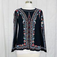 Anthropologie One September Wesley M Top Embroidered Boho Black Blue Floral #c