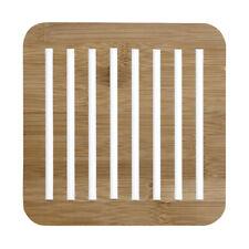 Ladelle Classic Square Bamboo Trivet, White Wooden Heatproof Mat Pan Dish Rest