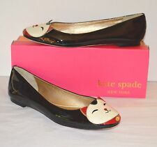 New $258 kate spade New York Jimi Flats Black/Cream Patent Leather Kitty Cat 9.5