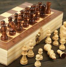 Jeu d'échecs Pliant Echiquier Magnétique Bois Traditionnel Cadeau Débutant 29cm