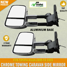 NEW Electric Chrome Towing Caravan Side Mirrors Pair Toyota Hilux 2005 - 2015