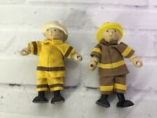 Pintoy Wooden Fireman Firefighter 2 Figures Toy Yellow Cloth Uniform 4in Wood