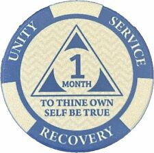 Poker Chip Style Sobriety Chips - Newcomer Coins - 1 Month Blue