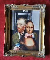 Framed Print Van Goch & Mona Lisa Fun Picture.  Decorative Ornate Gold Baroque