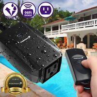 Waterproof Outdoor LED Light Wireless Remote Control Outlet Power Switch Plug In
