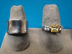 Lot of 2 Elle Sterling Silver Rings .925 Both size 7